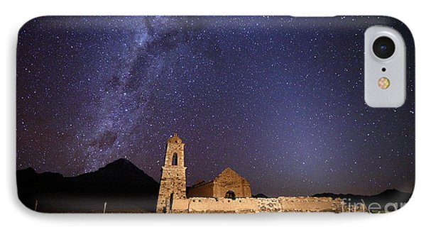 Ruined Church Milky Way And Zodiacal Light Bolivia IPhone Case by James Brunker