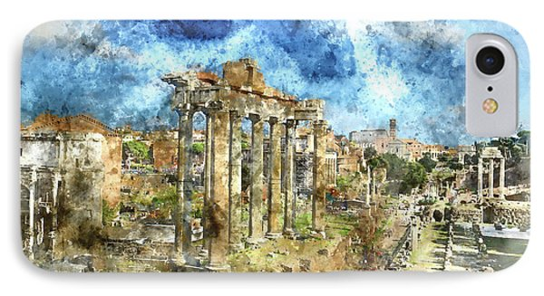 Ruins In Rome Italy IPhone Case by Brandon Bourdages