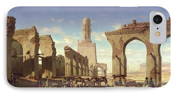 Ruins Of The Mosque Of The Caliph El Haken In Cairo Phone Case by Prosper Georges Antoine Marilhat
