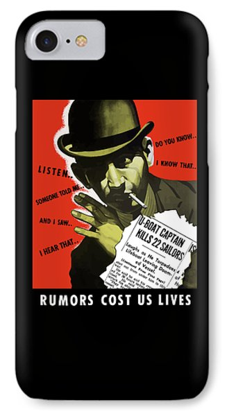 Rumors Cost Us Lives IPhone Case by War Is Hell Store