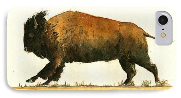 Buffalo iPhone 7 Case - Running American Buffalo by Juan  Bosco