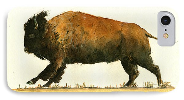 Running American Buffalo IPhone Case by Juan  Bosco