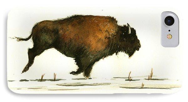 Bison iPhone 7 Case - Running Buffalo by Juan  Bosco