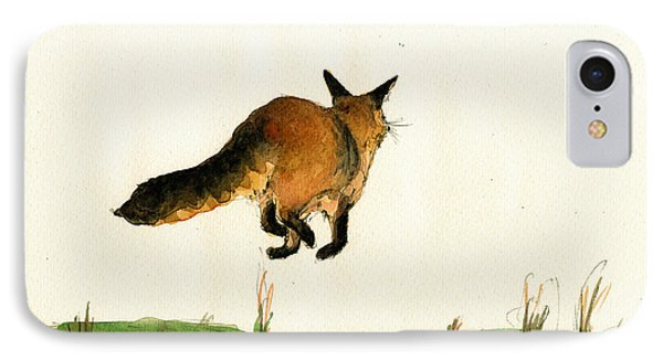 Running Fox Painting IPhone Case by Juan  Bosco
