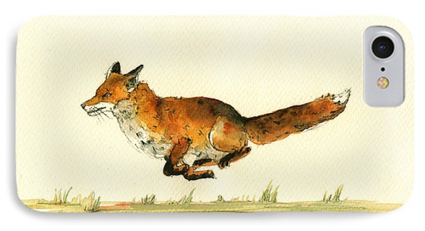 Running Red Fox IPhone Case by Juan  Bosco