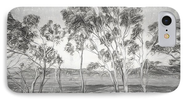 Rural Landscape Pencil Sketch IPhone Case by Jorgo Photography - Wall Art Gallery