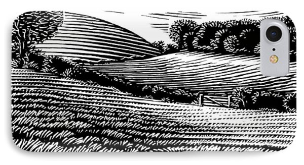 Rural Landscape, Woodcut IPhone Case by Gary Hincks