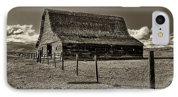 Rural Montana Barn In Sepia IPhone Case