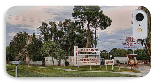 Ruskin Drive-in Theater By H H Photography Of Florida  IPhone Case by HH Photography of Florida