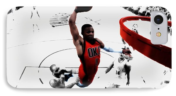 Russell Westbrook In Flight IPhone Case by Brian Reaves