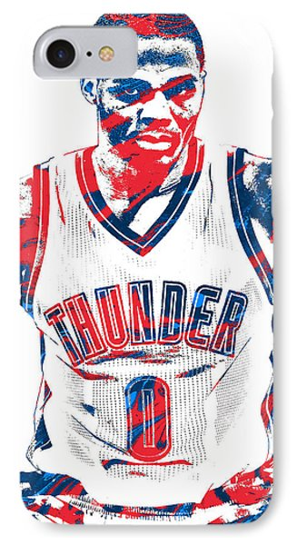 Russell Westbrook Oklahoma City Thunder Pixel Art 4 IPhone Case by Joe Hamilton