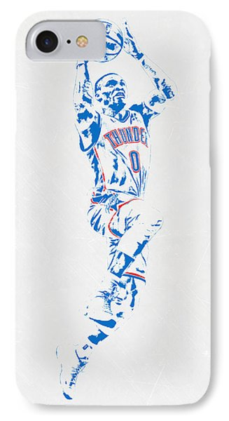 Russell Westbrook Oklahoma City Thunder Pixel Art IPhone Case