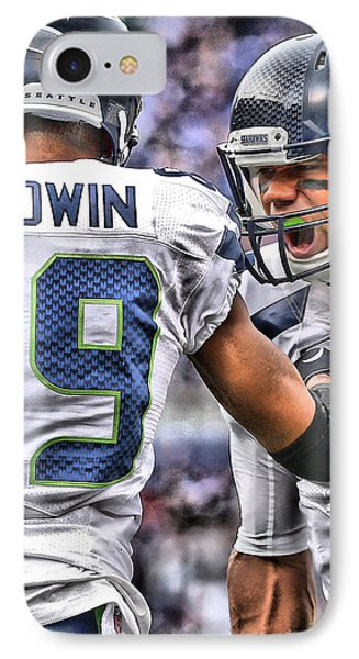 Russell Wilson Art 3 IPhone Case by Joe Hamilton