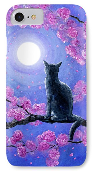 Russian Blue Cat In Pink Flowers IPhone Case by Laura Iverson