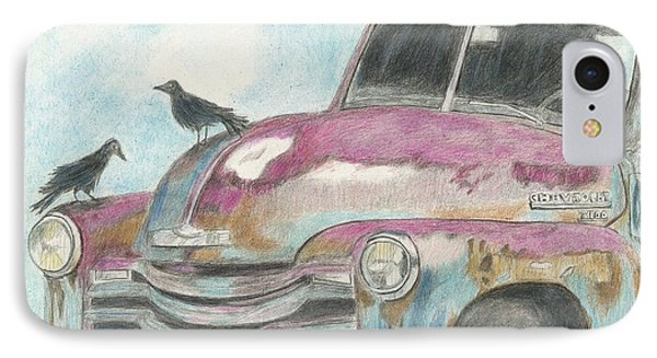 IPhone Case featuring the drawing Rust In Peace by Arlene Crafton