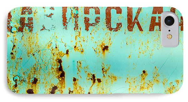 Rust On Metal Russian Letters IPhone Case by John Williams