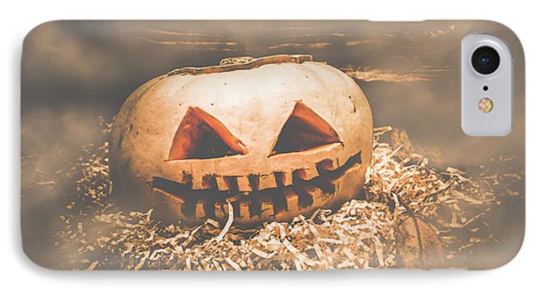 Rustic Barn Pumpkin Head In Horror Fog IPhone Case by Jorgo Photography - Wall Art Gallery