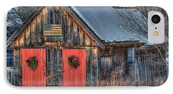 Rustic Barn With Flag In Snow IPhone Case