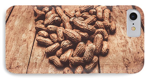 Rustic Country Peanut Heart. Natural Foods IPhone Case by Jorgo Photography - Wall Art Gallery