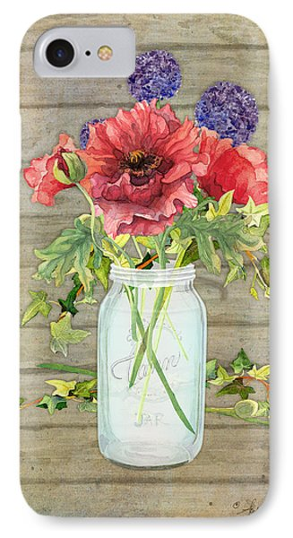 Rustic Country Red Poppy W Alium N Ivy In A Mason Jar Bouquet On Wooden Fence IPhone Case by Audrey Jeanne Roberts