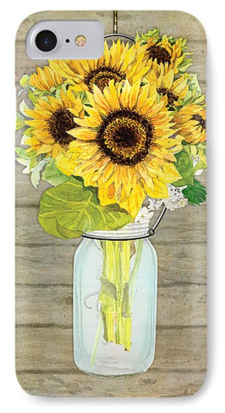 Rustic Country Sunflowers In Mason Jar IPhone Case by Audrey Jeanne Roberts