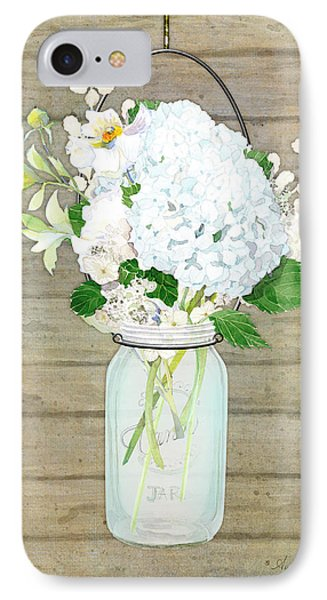 Rustic Country White Hydrangea N Matillija Poppy Mason Jar Bouquet On Wooden Fence IPhone Case by Audrey Jeanne Roberts
