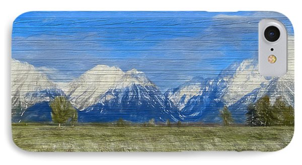 Rustic Grand Teton Range On Wood IPhone Case by Dan Sproul
