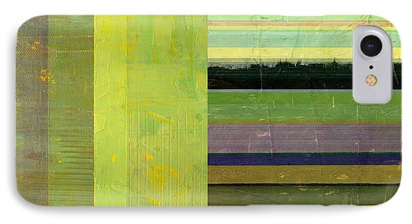 IPhone Case featuring the painting Rustic Green Flag With Stripes by Michelle Calkins