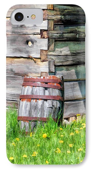 Rustic Rain Barrel At Old World Wisconsin IPhone Case by Christopher Arndt
