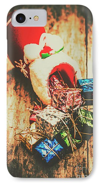 Rustic Red Xmas Stocking IPhone Case by Jorgo Photography - Wall Art Gallery