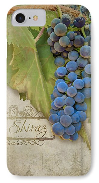 Rustic Vineyard - Shiraz Wine Grapes Over Stone IPhone Case