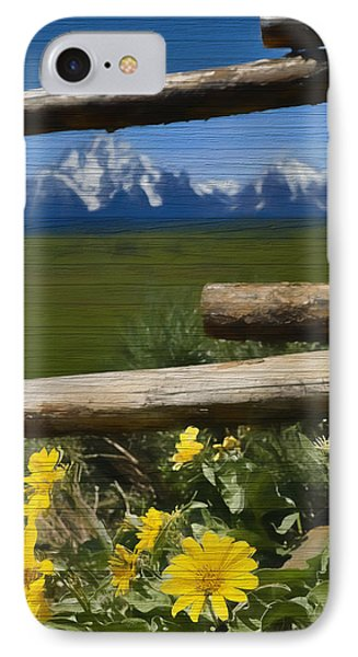 Rustic Wildflowers And Tetons IPhone Case by Dan Sproul