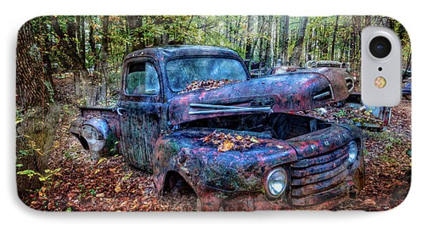 IPhone Case featuring the photograph Rusty Blue Vintage Ford  Truck by Debra and Dave Vanderlaan