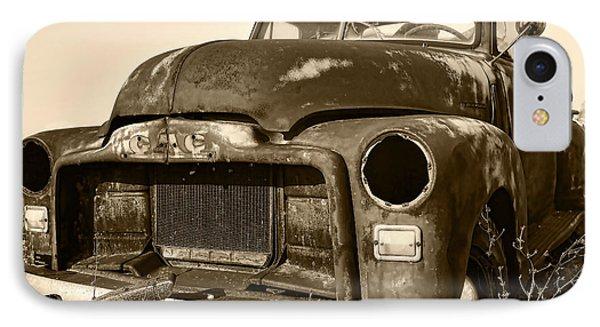 Rusty But Trusty Old Gmc Pickup Truck - Sepia IPhone Case