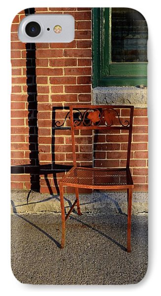 IPhone Case featuring the photograph Rusty Chair At Sunset by Corinne Rhode