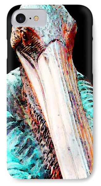 Rusty - Pelican Art Painting By Sharon Cummings IPhone Case by Sharon Cummings