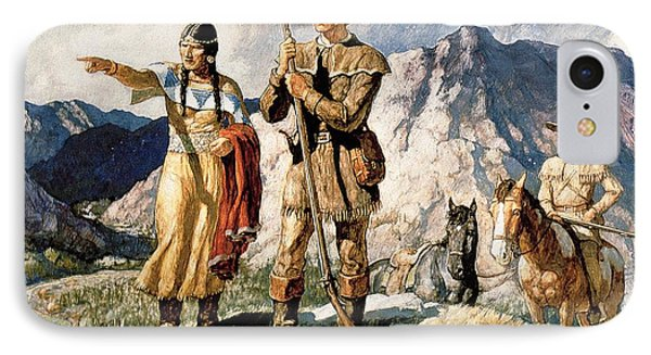 Sacagawea With Lewis And Clark During Their Expedition Of 1804-06 IPhone Case by Newell Convers Wyeth