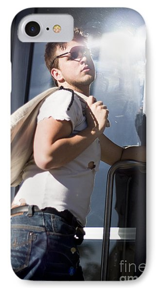 Sacked Man Entering Unemployment Office IPhone Case
