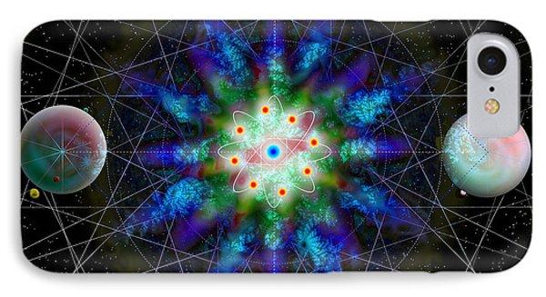 IPhone Case featuring the digital art Sacred Planetary Geometry - Blue Atom Dark by Iowan Stone-Flowers