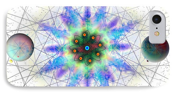 IPhone Case featuring the digital art Sacred Planetary Geometry - Blue Atom Light by Iowan Stone-Flowers