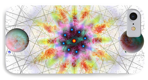 IPhone Case featuring the digital art Sacred Planetary Geometry - Red Atom Light by Iowan Stone-Flowers