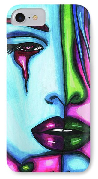 Sad Crying Woman Face Abstract Art IPhone Case