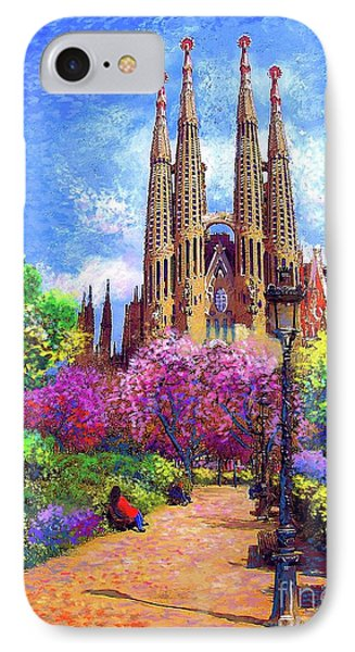 Barcelona iPhone 7 Case - Sagrada Familia And Park Barcelona by Jane Small