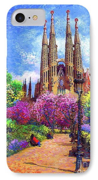 Sagrada Familia And Park,barcelona IPhone Case by Jane Small