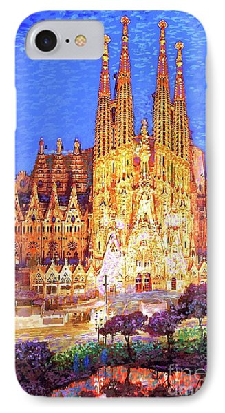 Barcelona iPhone 7 Case - Sagrada Familia At Night by Jane Small