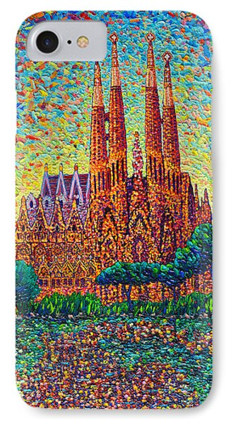 Sagrada Familia Barcelona Modern Impressionist Palette Knife Oil Painting By Ana Maria Edulescu IPhone Case by Ana Maria Edulescu