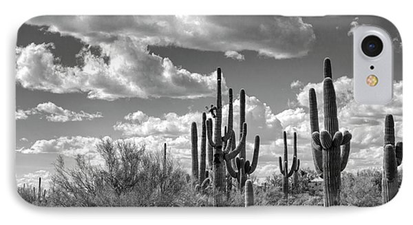 IPhone Case featuring the photograph Saguaro And Blue Skies Ahead In Black And White  by Saija Lehtonen
