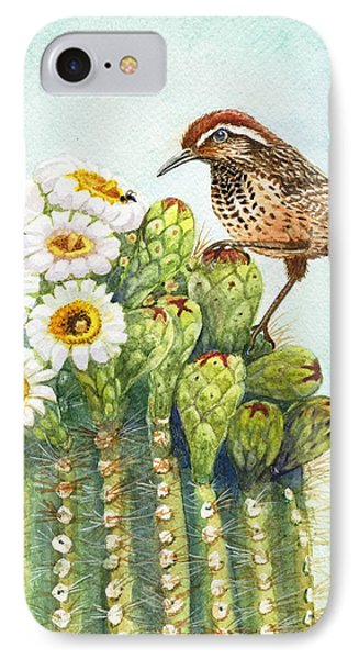 IPhone Case featuring the painting Saguaro And Cactus Wren by Marilyn Smith