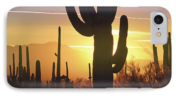 Saguaro Cactus Golden Sunset Mountain IPhone Case by Andrea Hazel Ihlefeld