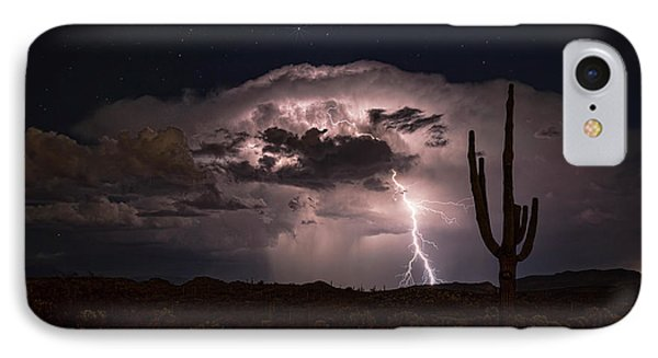 IPhone Case featuring the photograph Saguaro Lit Up By The Lightning  by Saija Lehtonen